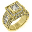 4 CARAT WOMENS DIAMOND ENGAGEMENT WEDDING HALO RING PRINCESS CUT YELLOW GOLD