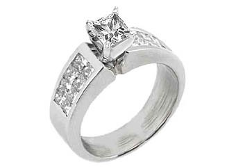 1.8CT WOMENS DIAMOND ENGAGEMENT WEDDING RING PRINCESS CUT INVISIBLE WHITE GOLD