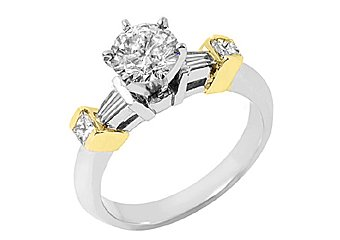 WOMENS BRILLIANT ROUND BAGUETTE DIAMOND ENGAGEMENT RING TWO TONE WHITE GOLD