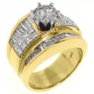 4 CARAT WOMENS DIAMOND ENGAGEMENT RING ROUND PRINCESS BAGUETTE CUT YELLOW GOLD