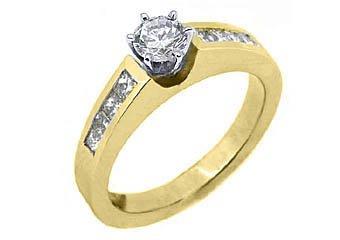 1.2 CARAT WOMENS DIAMOND ENGAGEMENT WEDDING RING ROUND PRINCESS CUT YELLOW GOLD