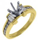 .68 CARAT WOMENS DIAMOND ENGAGEMENT RING SEMI-MOUNT ROUND BAGUETTE YELLOW GOLD