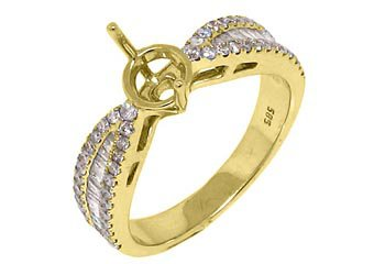 .79 CARAT WOMENS DIAMOND ENGAGEMENT RING SEMI-MOUNT ROUND BAGUETTE YELLOW GOLD