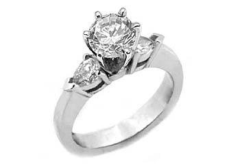 1 CARAT WOMENS DIAMOND ENGAGEMENT WEDDING RING ROUND CUT PEAR SHAPE WHITE GOLD