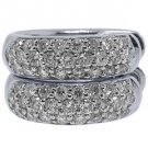 WOMENS 3/4 CARAT BRILLIANT ROUND CUT DIAMOND HOOP EARRINGS WHITE GOLD