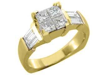 1.25CT WOMENS DIAMOND ENGAGEMENT WEDDING RING PRINCESS CUT INVISIBLE YELLOW GOLD