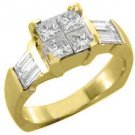 1.25CT WOMENS DIAMOND ENGAGEMENT WEDDING RING PRINCESS CUT INVISIBLE YELLOW GOLD