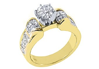 2.63CT WOMENS DIAMOND ENGAGEMENT RING ROUND PRINCESS CUT INVISIBLE YELLOW GOLD