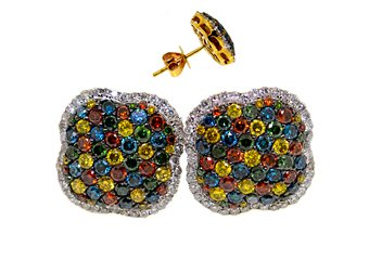 1.78 CARAT YELLOW BLUE RED GREEN WHITE BRILLIANT ROUND CUT DIAMOND STUD EARRINGS