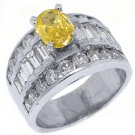 3 CARAT WOMENS FANCY YELLOW DIAMOND ENGAGEMENT RING OVAL SHAPE WHITE GOLD