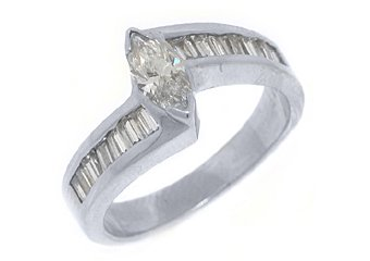 1.52CT WOMENS DIAMOND ENGAGEMENT WEDDING RING MARQUISE BAGUETTE CUT WHITE GOLD