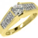1.5 CARAT WOMENS DIAMOND ENGAGEMENT WEDDING RING ROUND PRINCESS CUT YELLOW GOLD