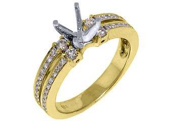 .50 CARAT WOMENS DIAMOND ENGAGEMENT RING SEMI-MOUNT ROUND CUT YELLOW GOLD