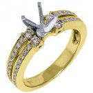 .50 CARAT WOMENS DIAMOND ENGAGEMENT RING SEMI-MOUNT ROUND CUT YELLOW GOLD