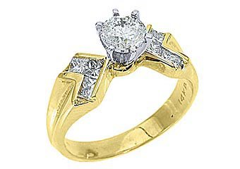 1.28 CARAT WOMENS DIAMOND ENGAGEMENT WEDDING RING ROUND PRINCESS CUT YELLOW GOLD