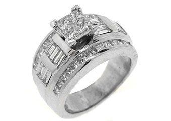 2CT WOMENS DIAMOND ENGAGEMENT WEDDING RING PRINCESS CUT INVISIBLE WHITE GOLD