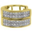 WOMENS 1 CARAT PRINCESS SQUARE CUT DIAMOND HOOP EARRINGS YELLOW GOLD