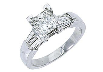 1.6CT WOMENS DIAMOND ENGAGEMENT WEDDING RING PRINCESS BAGUETTE CUT WHITE GOLD