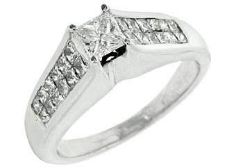 1.05CT WOMENS DIAMOND ENGAGEMENT WEDDING RING PRINCESS CUT INVISIBLE WHITE GOLD