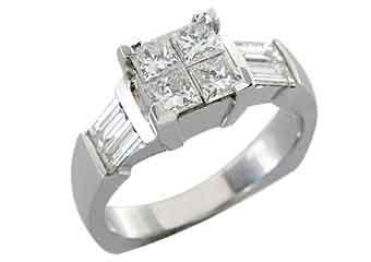 1.25CT WOMENS DIAMOND ENGAGEMENT WEDDING RING PRINCESS CUT INVISIBLE WHITE GOLD