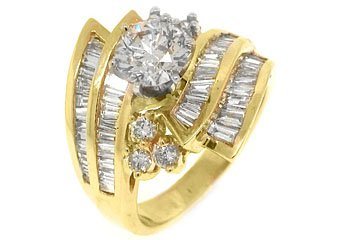 3.28 CARAT WOMENS DIAMOND ENGAGEMENT WEDDING RING ROUND BAGUETTE CUT YELLOW GOLD
