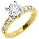 1.7 CARAT WOMENS DIAMOND ENGAGEMENT WEDDING RING BRILLIANT ROUND CUT YELLOW GOLD