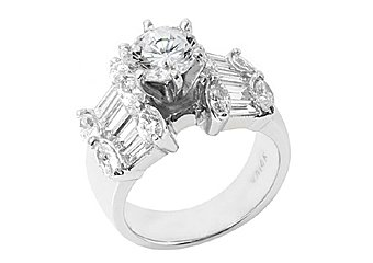 3.5 CARAT WOMENS DIAMOND ENGAGEMENT RING ROUND MARQUISE BAGUETTE CUT WHITE GOLD