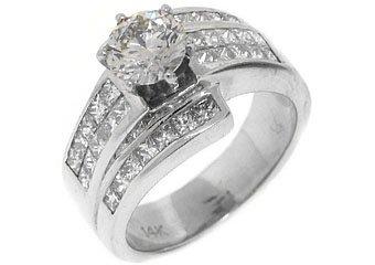 2.68 CARAT WOMENS DIAMOND ENGAGEMENT WEDDING RING ROUND PRINCESS CUT WHITE GOLD