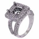 1.78 CARAT WOMENS DIAMOND HALO ENGAGEMENT RING SEMI-MOUNT ROUND CUT WHITE GOLD