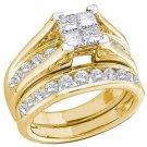 WOMENS DIAMOND ENGAGEMENT RING WEDDING BAND BRIDAL SET .90 CARAT PRINCESS CUT YG