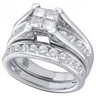 WOMENS DIAMOND ENGAGEMENT RING WEDDING BAND BRIDAL SET .90 CARAT SQUARE CUT