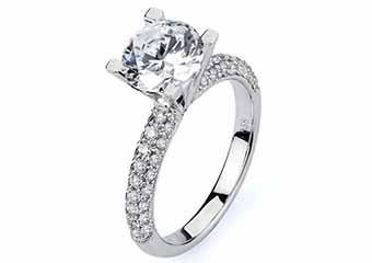 WOMENS DIAMOND ENGAGEMENT RING ROUND CUT 1.58 CARAT 18K WHITE GOLD