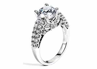 WOMENS DIAMOND ENGAGEMENT RING ROUND CUT 1.80 CARAT 18K WHITE GOLD