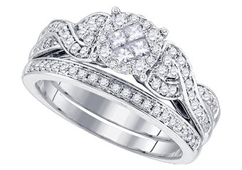 WOMENS DIAMOND ENGAGEMENT RING WEDDING BAND BRIDAL SET .67 CARAT ROUND CUT