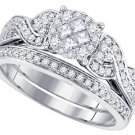 WOMENS DIAMOND ENGAGEMENT RING WEDDING BAND BRIDAL SET .67 CARAT ROUND CUT