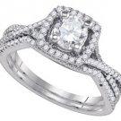 WOMENS DIAMOND ENGAGEMENT RING WEDDING BAND BRIDAL SET 1.05 CARAT ROUND HALO