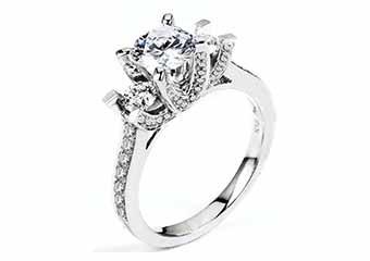 WOMENS DIAMOND ENGAGEMENT RING ROUND CUT 1.81 CARAT 18K WHITE GOLD