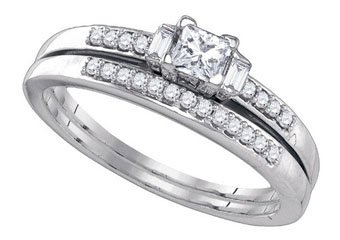 WOMENS DIAMOND ENGAGEMENT RING WEDDING BAND BRIDAL SET .45 CARAT PRINCESS CUT