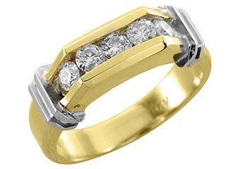 MENS 3/4 CARAT BRILLIANT ROUND CUT DIAMOND RING WEDDING BAND 5-STONE YELLOW GOLD