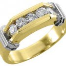 MENS 3/4 CARAT BRILLIANT ROUND CUT DIAMOND RING WEDDING BAND 5-STONE YELLOW GOLD