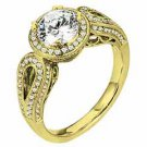 WOMENS DIAMOND ENGAGEMENT HALO RING ROUND CUT 1.48 CARAT 18K YELLOW GOLD