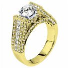 WOMENS DIAMOND ENGAGEMENT RING ROUND CUT 2.35 CARAT 14K YELLOW GOLD