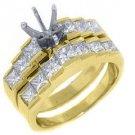 1.7 CARAT WOMENS DIAMOND ENGAGEMENT RING SEMI-MOUNT SET PRINCESS CUT YELLOW GOLD