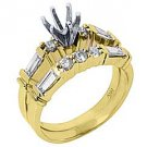1 CARAT WOMENS DIAMOND ENGAGEMENT RING SEMI-MOUNT SET ROUND BAGUETTE YELLOW GOLD