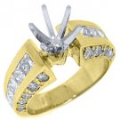 2.38 CARAT WOMENS DIAMOND ENGAGEMENT RING SEMI-MOUNT PRINCESS CUT YELLOW GOLD