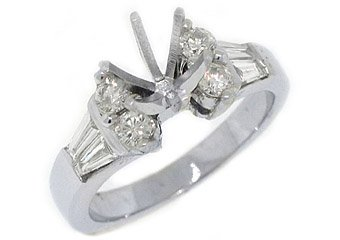 .89 CARATS WOMENS DIAMOND ENGAGEMENT RING SEMI-MOUNT BAGUETTE CUT WHITE GOLD