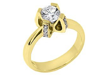 1.1 CARAT WOMENS SOLITAIRE BRILLIANT ROUND DIAMOND ENGAGEMENT RING YELLOW GOLD