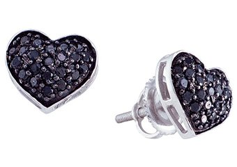 .42 CARAT BRILLIANT ROUND HEART SHAPE BLACK DIAMOND STUD EARRINGS WHITE GOLD