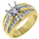 2 CARAT WOMENS DIAMOND ENGAGEMENT RING SEMI-MOUNT PRINCESS CUT YELLOW GOLD