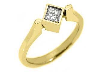 WOMENS SOLITAIRE PRINCESS SQUARE DIAMOND ENGAGEMENT RING BEZEL SET YELLOW GOLD